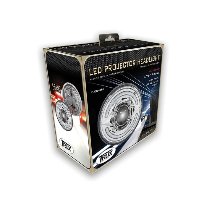 "5.75"" Premium LED Projector Headlight with White Auxiliary Accent-Low Beam"