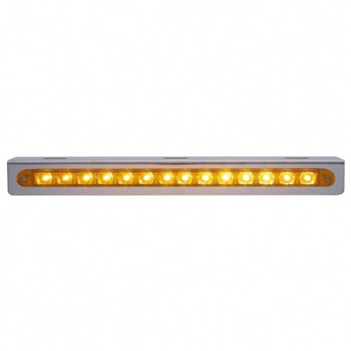 "12 3/4"" Stainless Light Bracket w/ 14 LED 12"" Light Bar - Amber LED/Amber Lens"