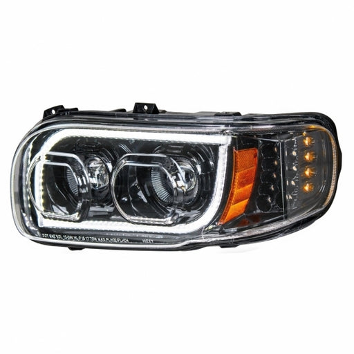 High Power LED Blackout Headlight w/ LED Position Light & LED Turn Signal For 2008+ Peterbilt 388/389
