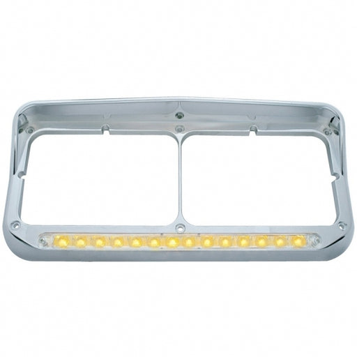 United Pacific 14 LED Rectangular Dual Headlight Bezel w/ Visor - Amber LED/Clear Lens