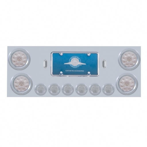 "Stainless Rear Center Panel w/ Four 10 LED 4"" Lights & Six 9 LED 2"" Lights & Bezels - Red LED/Clear Lens"