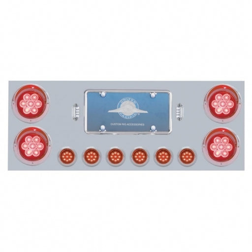 "Stainless Rear Center Panel W/ Four 7 LED 4"" Reflector Lights & Six 9 LED 2"" Lights & Visors - Red LED/Red Lens"