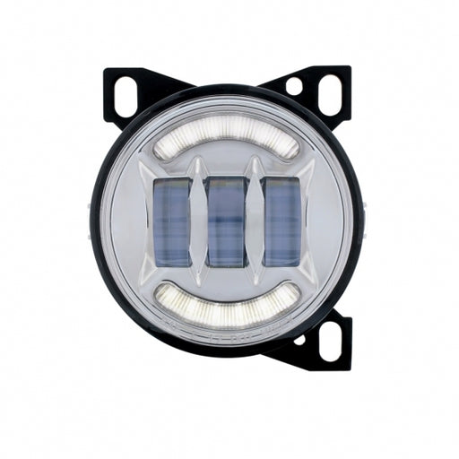 "United Pacific 4 1/4"" Chrome Round LED Fog Light with LED Position Light Bar - On"