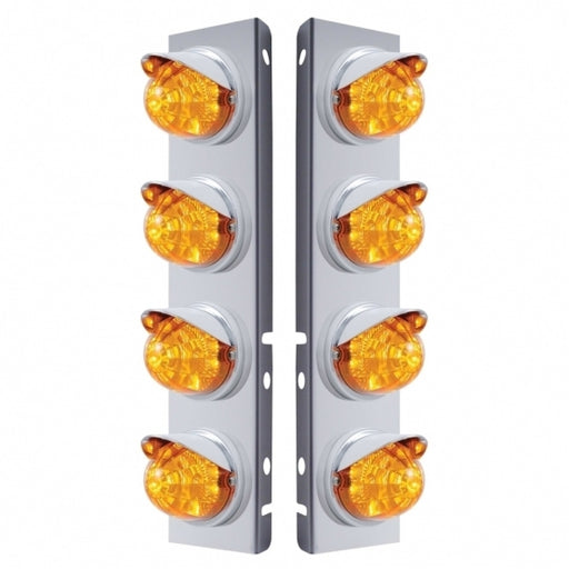 Peterbilt Stainless Front Air Cleaner Bracket w/ Eight 17 LED Reflector Watermelon Lights & Visors - Amber LED/Amber Lens
