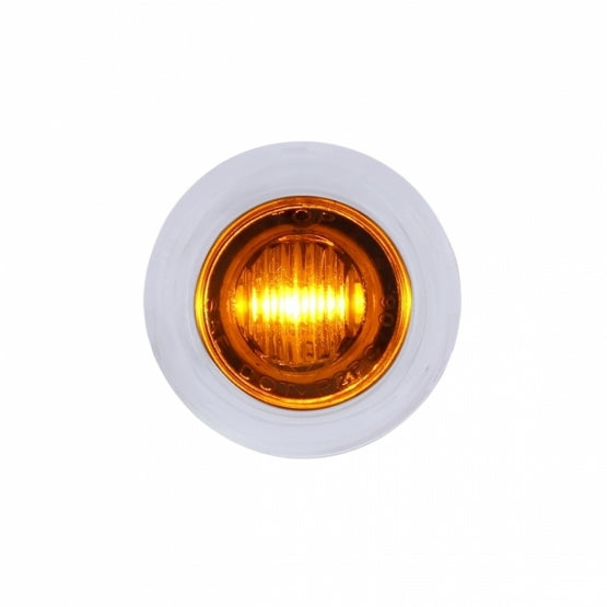 3 LED Dual Function Mini Clearance/Marker Light w/ Bezel - Amber LED/Amber Lens