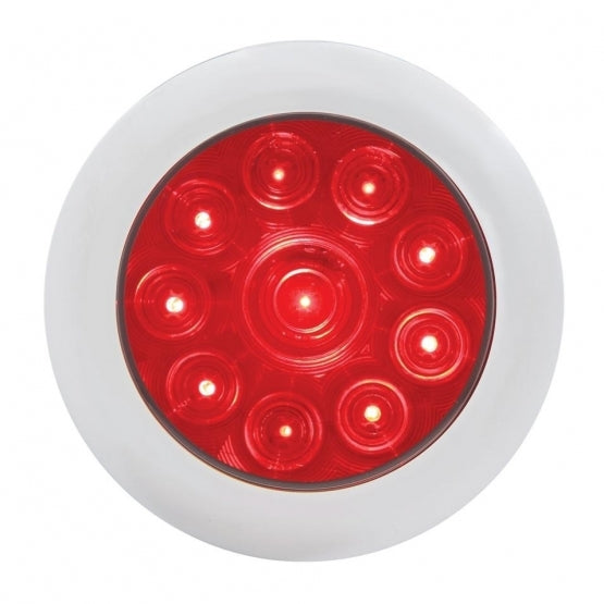 "United Pacific 10 LED 4"" Stop, Turn, & Tail Light with Bezel- Red LED/Red Lens - On"
