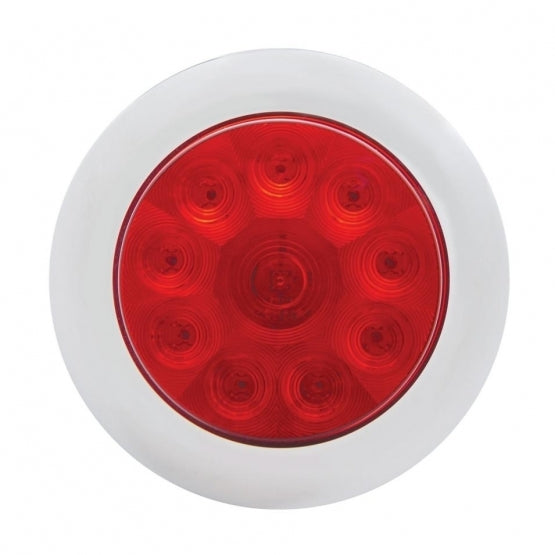 "United Pacific 10 LED 4"" Stop, Turn, & Tail Light with Bezel- Red LED/Red Lens off"