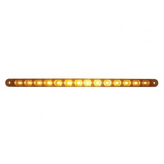 "United Pacific 14 LED 12"" Turn Signal Light Bar - Amber LED/Amber Lens - On"