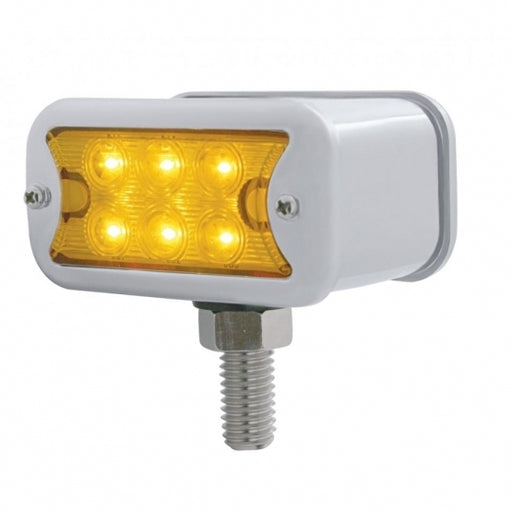 6 LED Dual Function T Mount Double Face Light W/ Bezel - Amber & Red LED/Amber & Red Lens