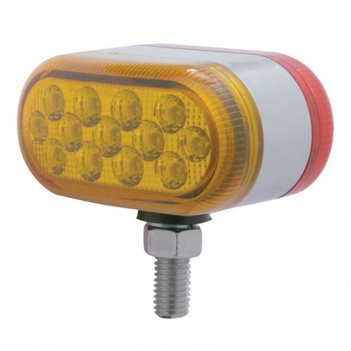 13 LED Dual Function Reflector Double Face Oval Light - Amber & Red LED/Amber & Red Lens