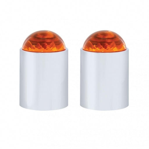 Dome Lens Bumper Guide Top w/ Chrome Base - Amber (2 Pack)