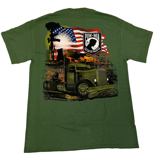Bells-And-Whistles-Chrome-Shop-Trucks-Aftermarket-Accessories-Apparel-Big Rig Tees-Waving the Flag Tee-Peterbilt-Kenworth-Freightliner-Mack-Volvo-Lonestar