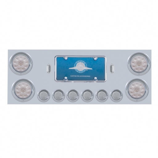 "Stainless Rear Center Panel w/ Four 10 LED 4"" Lights & Six 9 LED 2"" Lights & Visors - Red LED/Clear Lens"