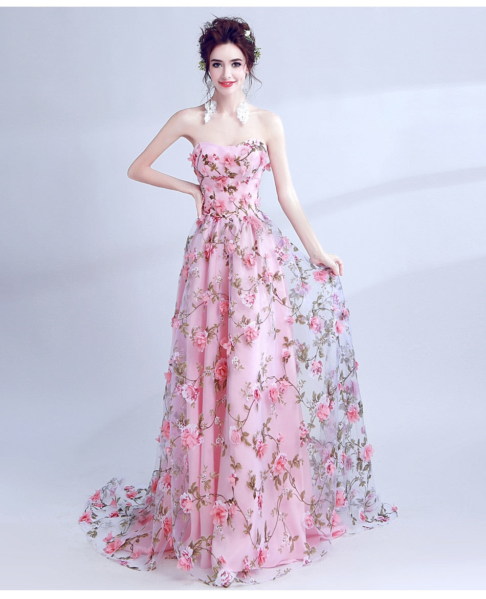 Pink Flowers Prom Dresses 11marketplace