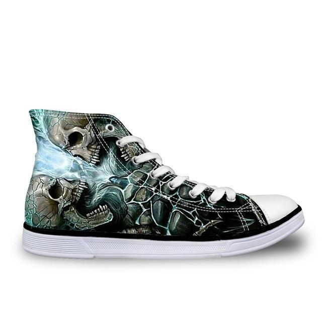 Fashionable All Star Style Skull Printed Shoes