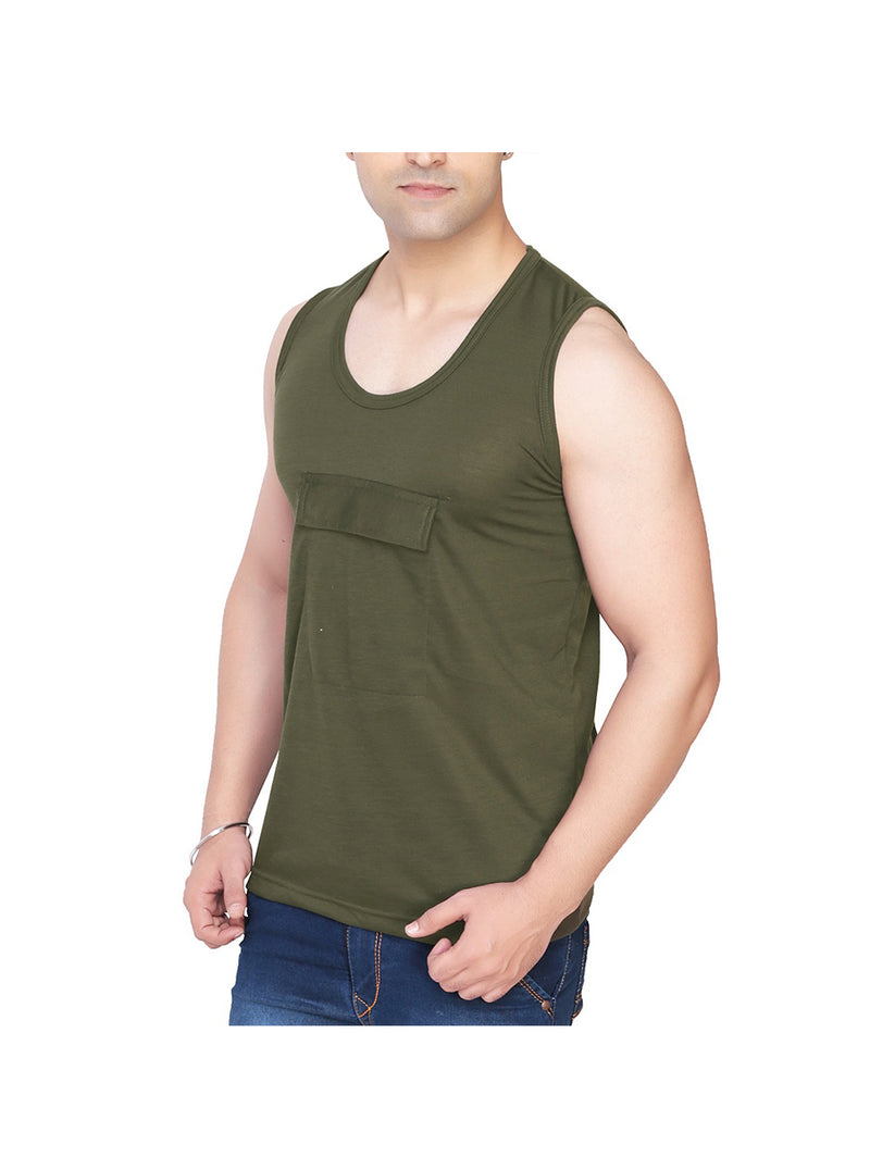 Dark Green Vest with Pocket for Men