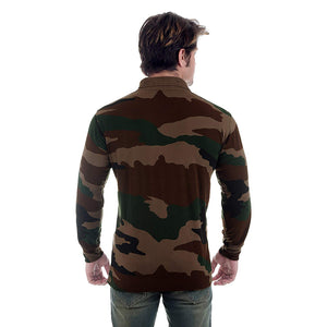 Camouflage Print Full Sleeve Polo T-Shirt
