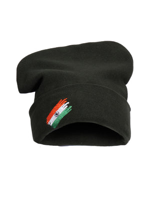 Olive Green Flag Logo Winter Cap Indian Army