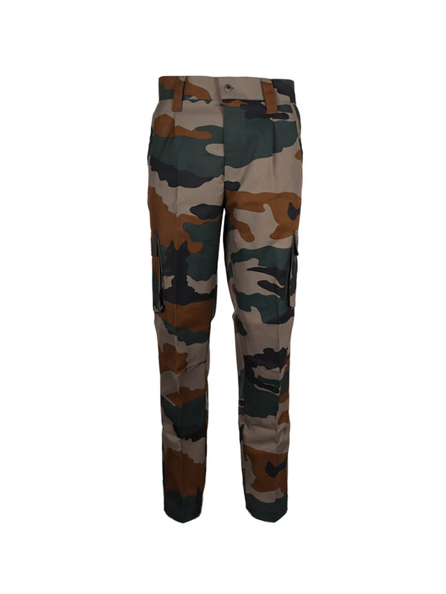 Cotton Grey Camouflage Print Cargos