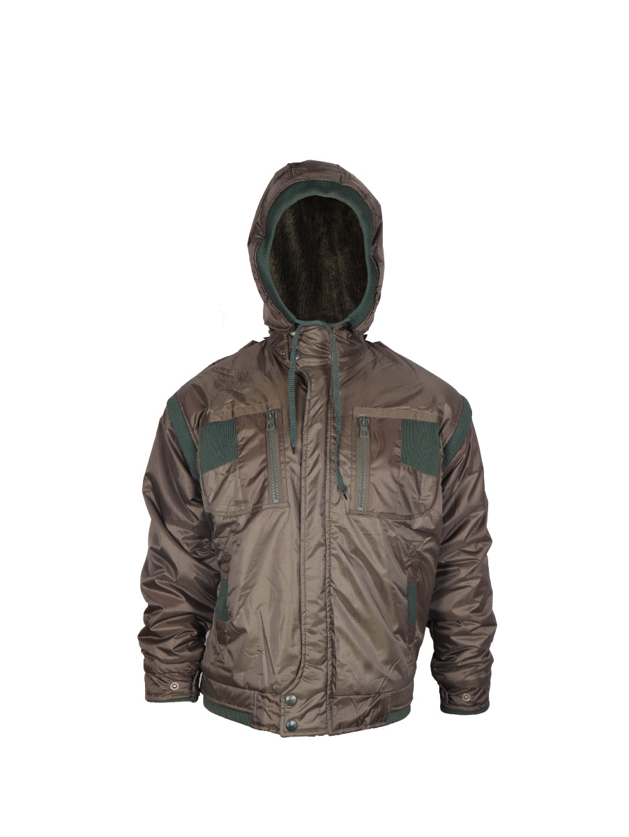 Olive Green Quilted Jacket with Detachable Hood