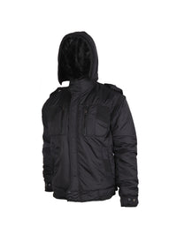 Black Quilted Jacket with Detachable Hood