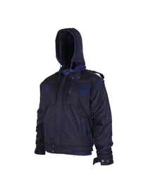 Blue Quilted Jacket with Detachable Hood
