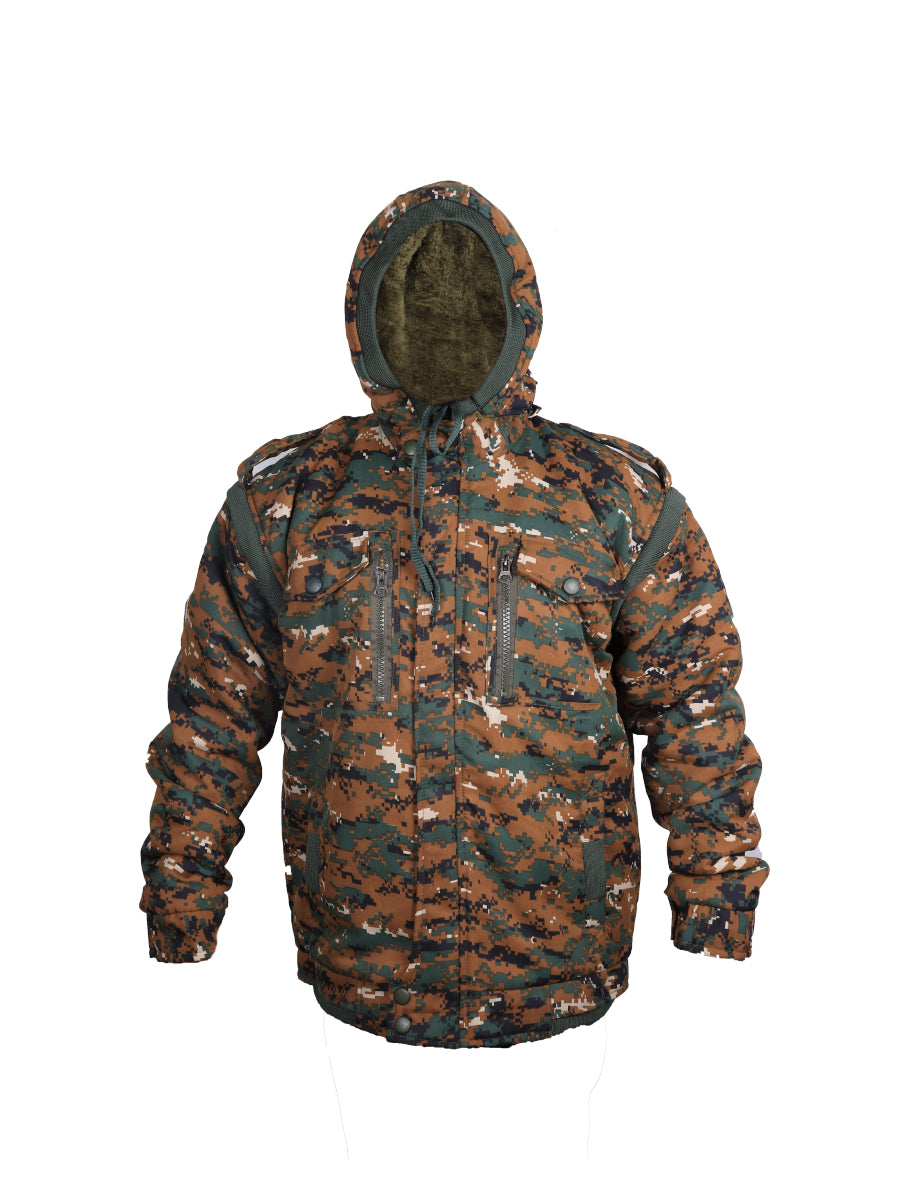 Green Cobra Print Quilted Jacket with Detachable Hood