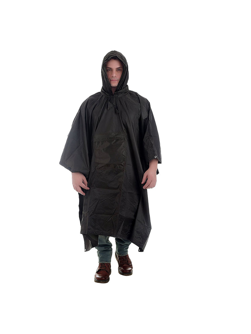 Black Rain Poncho With Hoods