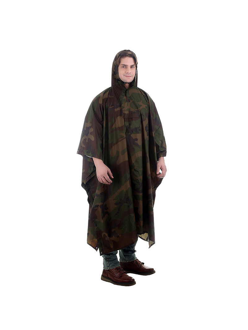 Green Camouflage Rain Poncho with Hoods