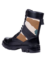 Black High Ankle Combat Print Leather Boots NU1018