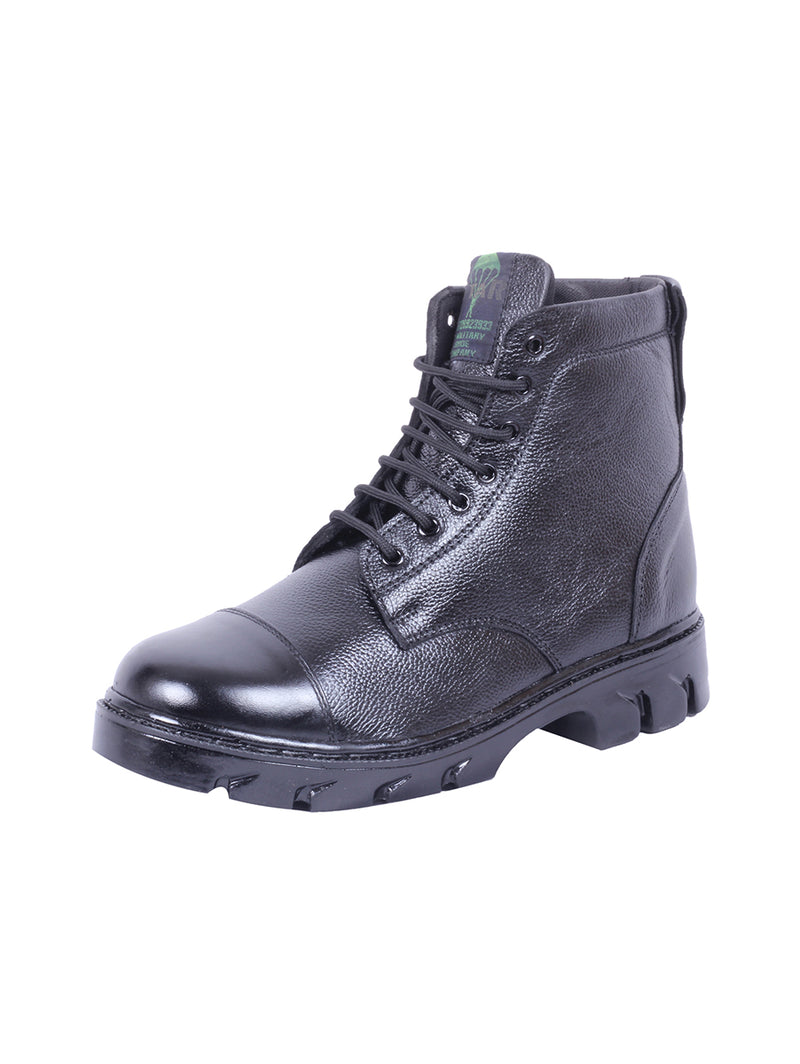 Black Full Zip Leather Boots