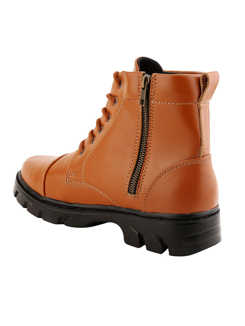Full Zip Brown Leather Boots
