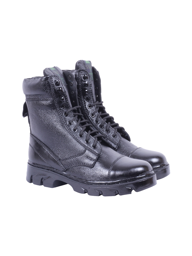 Star High Ankle Black Leather Boots