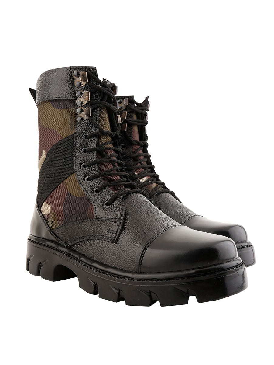 Combat Print High Ankle Black Leather Boots NU847