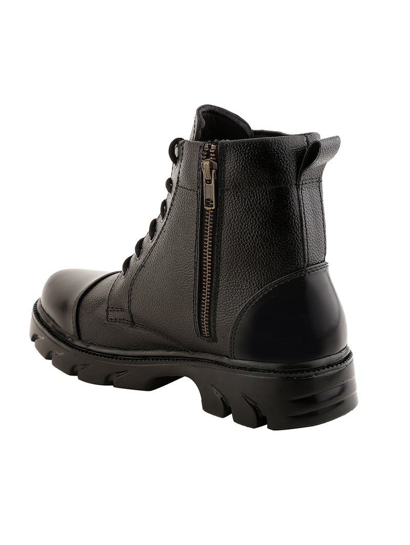 Full Zip Black Leather Boots NU849
