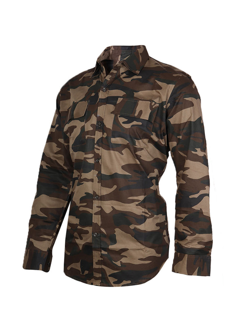 Cotton Coffee Camouflage Print Full Sleeve Double Pocket Shirt for Men