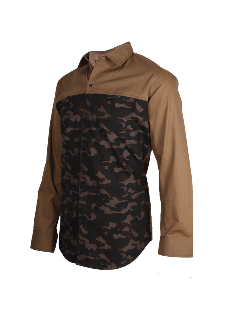 Polycotton Khaki and Combat Full Sleeve Street Style Shirt for Men