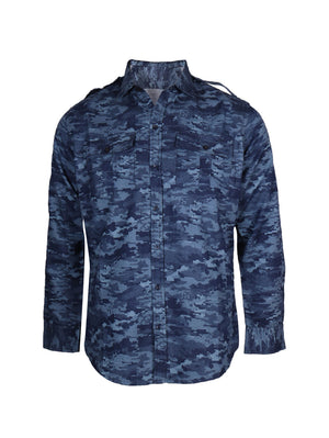Sky Blue Cobra Print Full Sleeve Shirt for Men