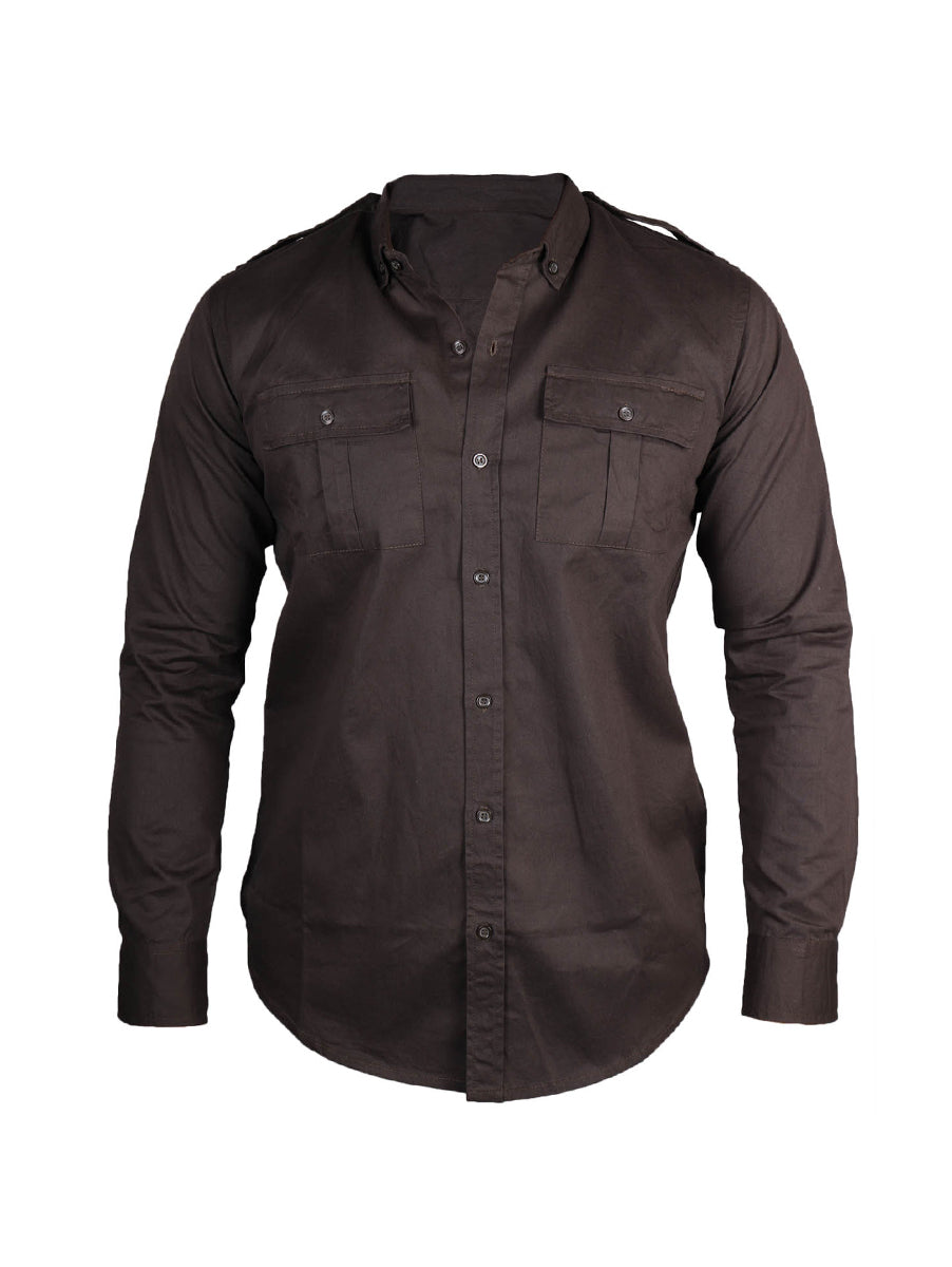 Polycotton Solid Dark Grey Full Sleeve Shirt for Men