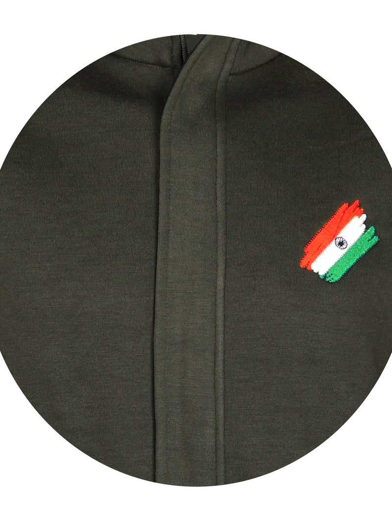 Olive Green Sweatshirt with Flag Logo Indian Army