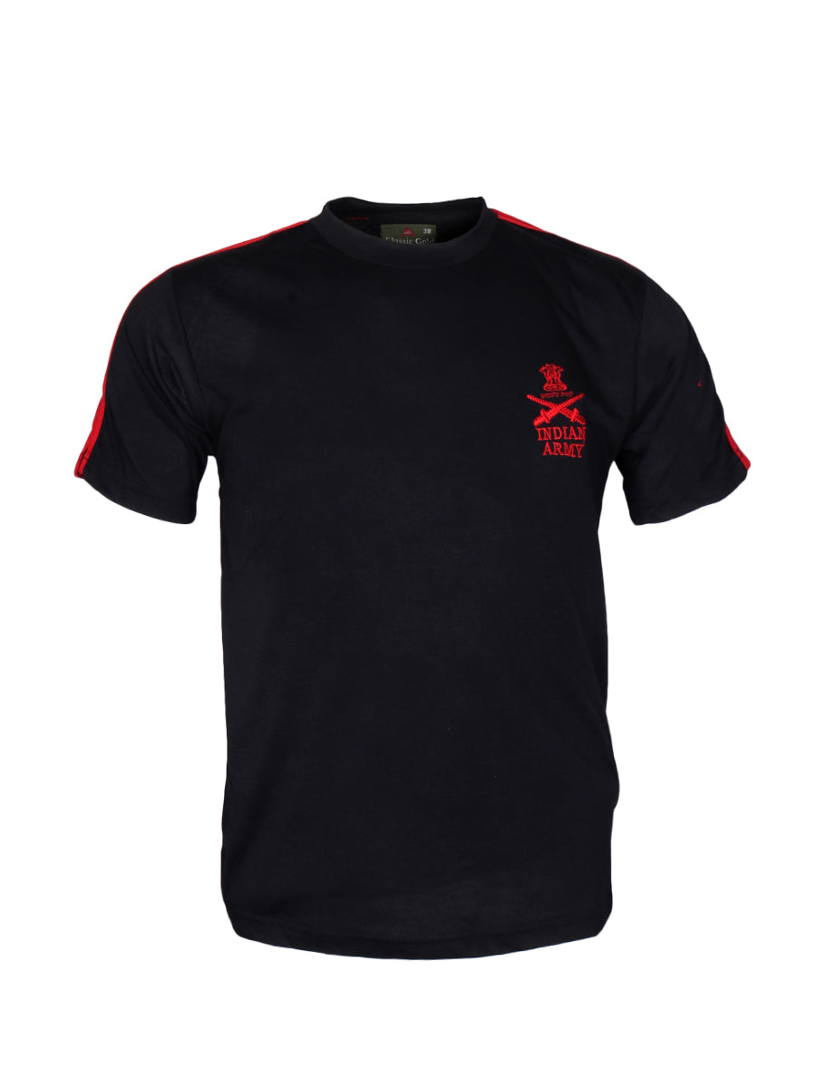 Black Round Neck Half Sleeve T-Shirt Indian Army