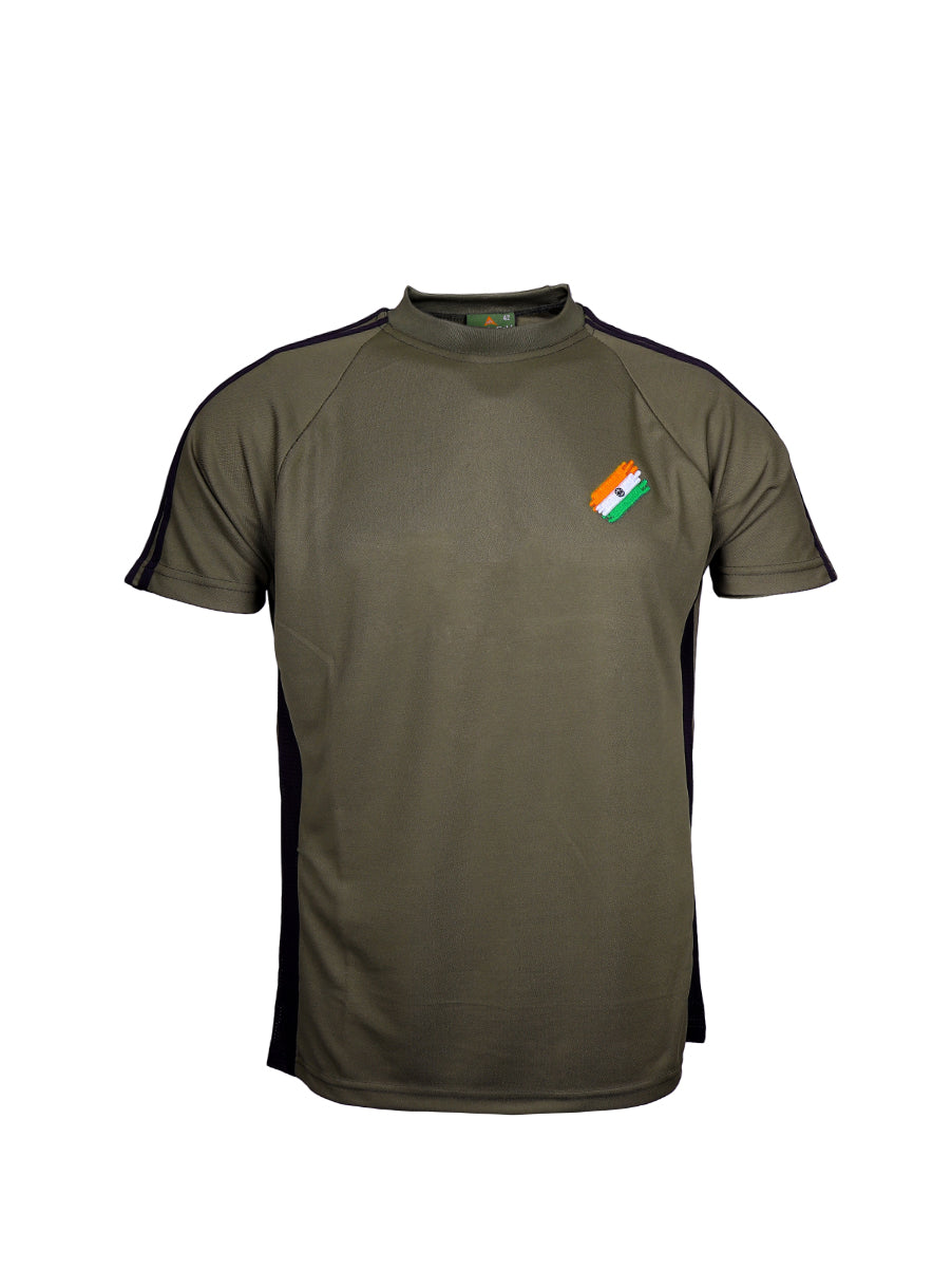 6a1cd8a2 Olive Green Half Sleeve Round Neck Flag logo T-Shirt Indian Army ...