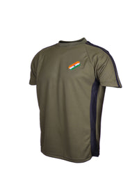 Olive Green Half Sleeve Round Neck Flag logo T-Shirt Indian Army