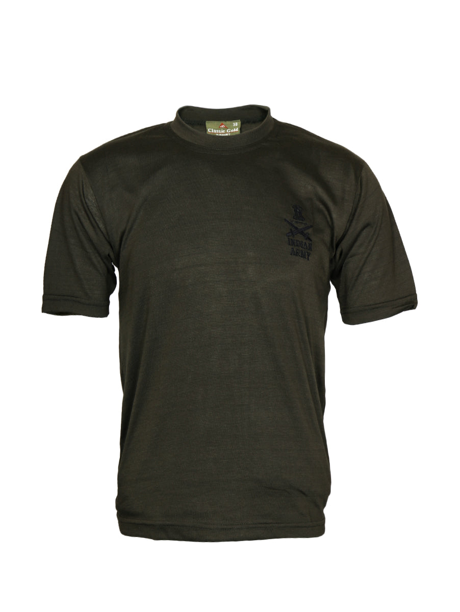 Olive Green Half Sleeve Round Neck T-Shirt