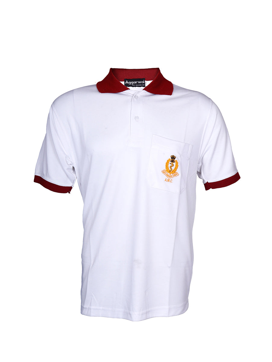 White and Red Half Sleeve Polo T-Shirt Army Medical Corps