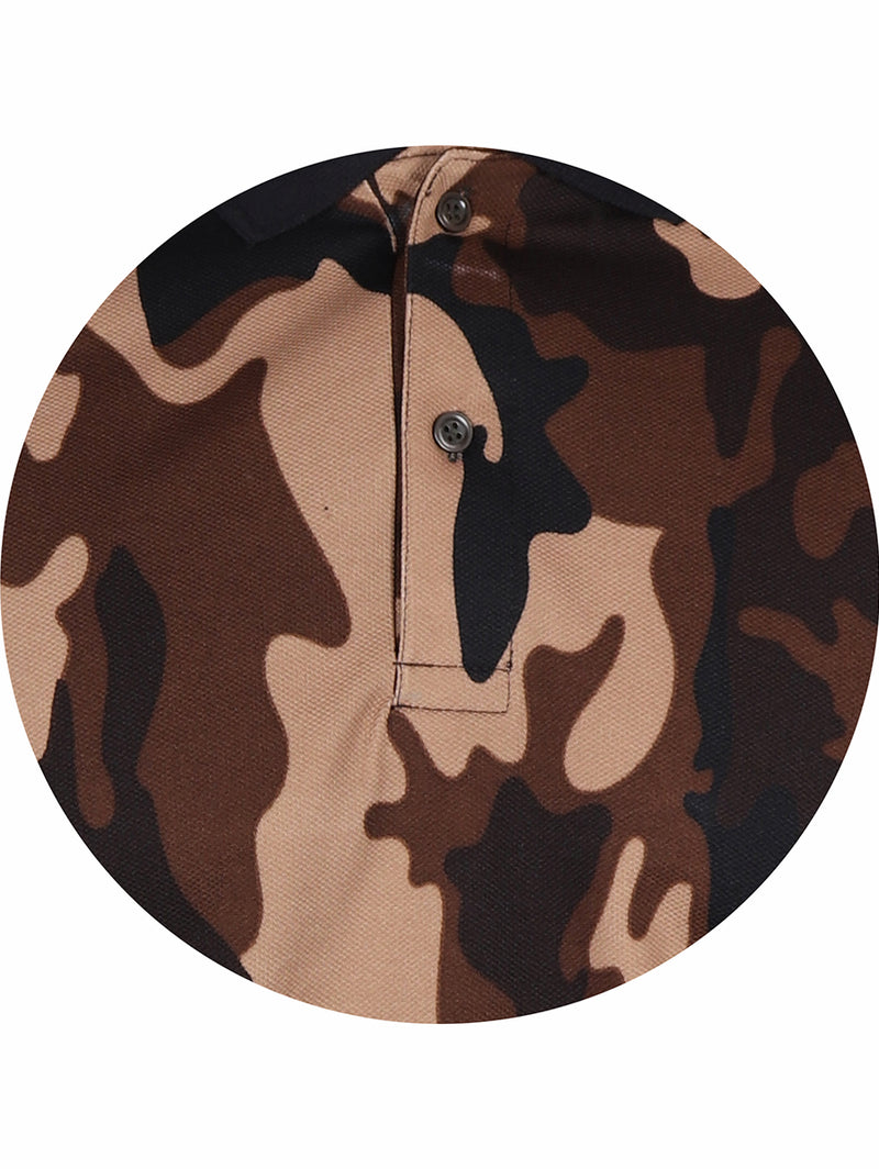Active Camo Coffee Half Sleeve Polo T-Shirt