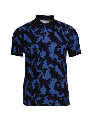 Active Camo Blue Half Sleeve Polo T-Shirt
