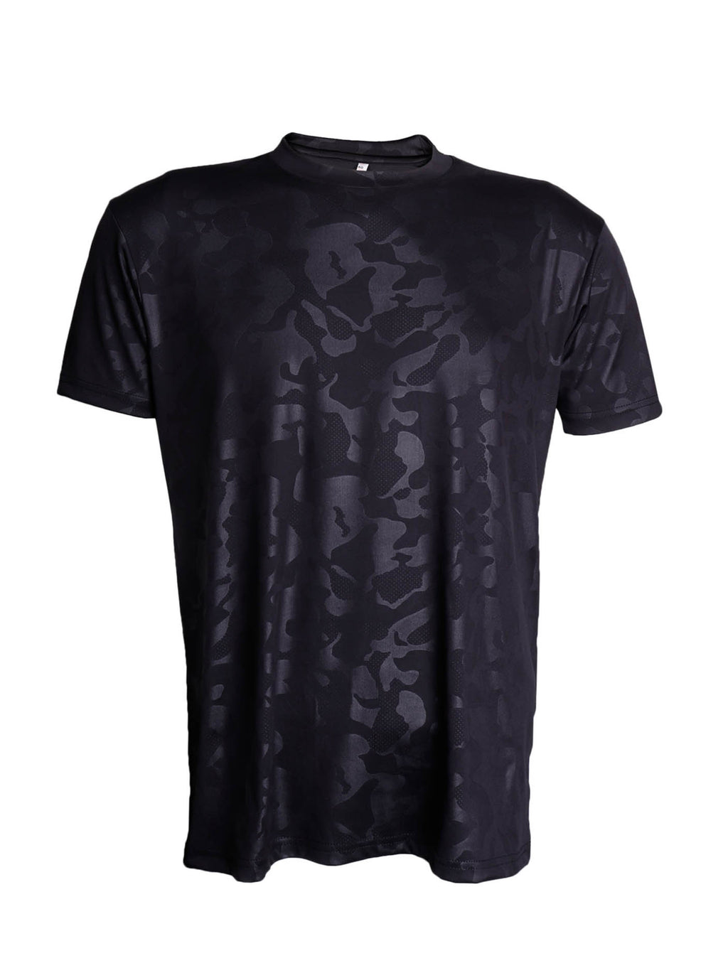 BlacK Lycra Army Half Sleeve Round Neck T-Shirt