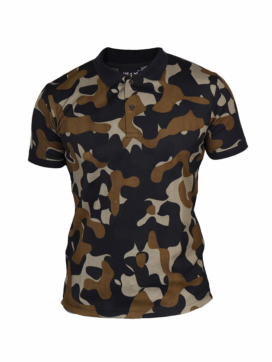 Active Camo Khaki Half Sleeve Polo T-Shirt