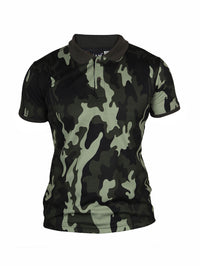 Active Camo Olive Green Half Sleeve Polo T-Shirt